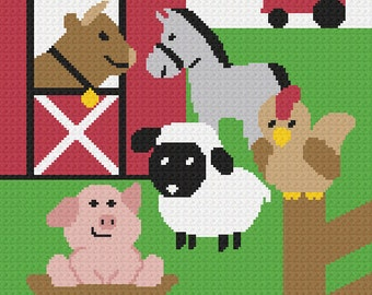 INSTANT DOWNLOAD LARGE 150st Farm Animals No2 Bull Horse Pig Lamb Rooster Barn Tractor Fun Afghan Crochet Pattern Graph