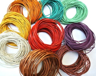 SALE-Leather cord 90 METER in 9 colors, 1.2mm and 2mm great for jewelry