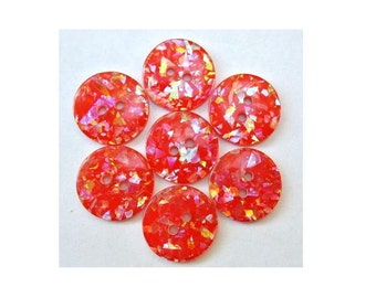 6 Buttons, vintage, red with indise glitters in assorted colors, 18mm, for button jewelry