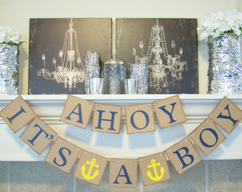 ahoy it 39 s a boy baby shower banner nautical theme baby shower sign