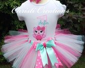 Baby Girl Birthday Tutu - Owl Themed Party Outfit - Pink & Aqua Tutu - Cake Smash Photo Prop