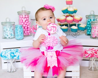 Baby Girl 1st Birthday Outfit - 1st Birthday Girl Outfit - Birthday Tutu - Pink Cupcake Birthday Outfit