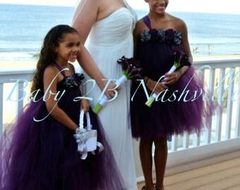 Flower Girl Dress  Wedding Flower Girl Dress in Plum and Gunmetal Baby - size 8 Girls