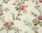 1900's Antique French Wallpaper by the Yard - French Floral Chintz Vintage Wallpaper