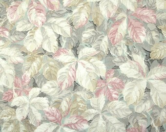 1920's Vintage Wallpaper - Antique Wallpaper with Gray Pink and Brown Botanical Leaves