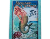 Mermaid glass cutting board, mermaid sign art, mermaid oysters sign, glass mermaid, Chesapeake Bay art, chesapeake glass art,Vintage mermaid