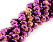 Electroplated Glass Faceted Rondelle Beads Gold, 6x4mm, Approximately 18in, Purple Fuchsia Fire Polished, Pink Gold, SBG-001H