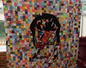 Ziggy / Bowie wall or single bed quilt, David Bowie, twin size quilt, pop culture quilt, wall art, wall quilt, sofa quilt, glam rock quilt