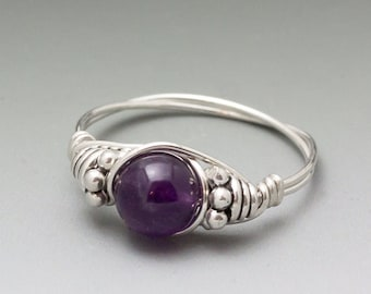 Amethyst Bali Sterling Silver Wire Wrapped Ring - Made to Order, Ships Fast!