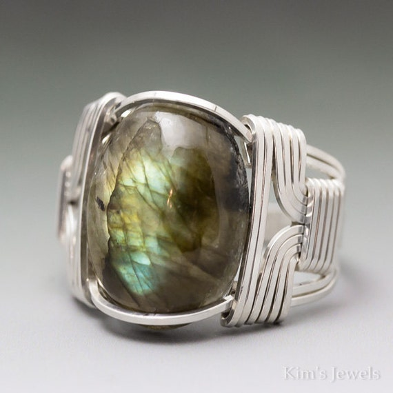 Kims Jewels Labradorite Spectrolite Cabochon Sterling Silver Wire Wrapped Ring