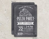 Pizza Party Invitation - Chalkboard Pizza Invite - Pizza Birthday Party