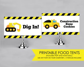 Printable Food Tents, Food Labels for a Construction Party  INSTANT Download - 4 vehicles included