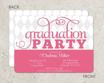 Harlequin design graduation invitation in pink and grey with 2 sided printing