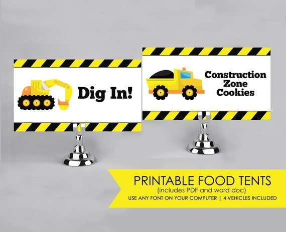 Printable Food Tents Food Labels For A Construction Party