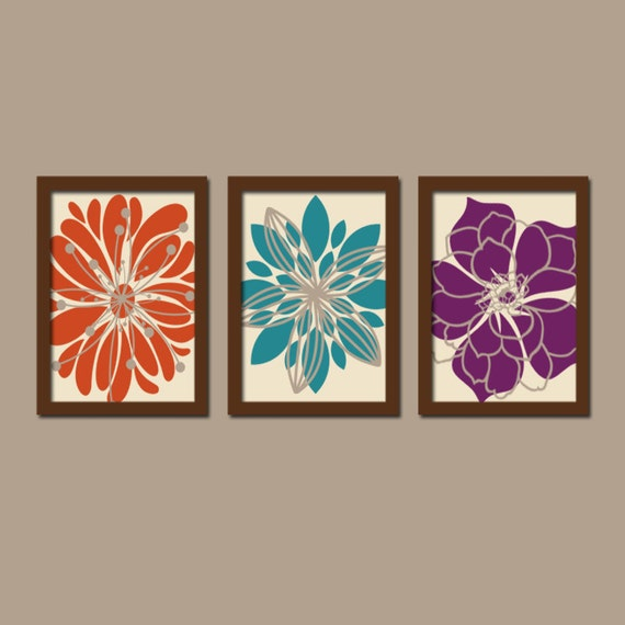 Items Similar To Teal Purple Abstract Flowers Wall Decor: Wall Art Canvas Artwork Orange Teal Purple Flower By TrmDesign