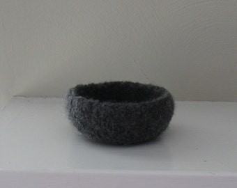Charcoal Felted Mini-Bowl - In Stock - Ready to Ship