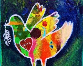 "Peace Dove, original acrylic painting  8x8"", bird"