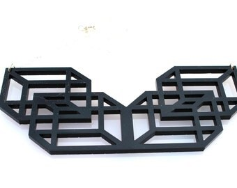 Black Geometric Necklace Laser Cut Acrylic Perspex Modern on Sterling Silver Chain Cubes Boxes Modern Abstract