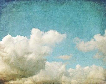 "Cloud wall art blue sky nature photography white cumulus clouds sky art print  ""Up and Away"""