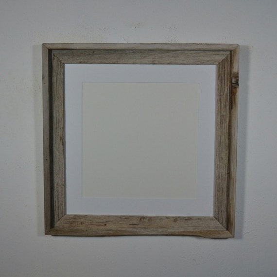 16x16 Rustic Gray Barnwood Frame With Red 12x12 Mat By