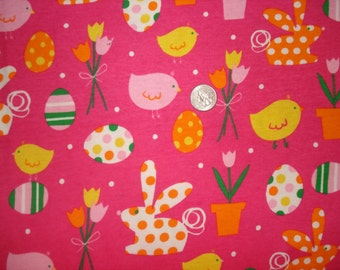 EASTER bunnies and Easter eggs on hot pink  cotton rib knit fabric 1 yd