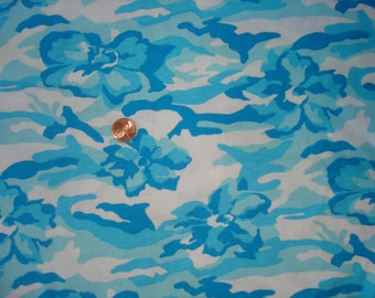 BEAUTIFUL aqua and turquoise floral camo  print on cotton jersey knit fabric