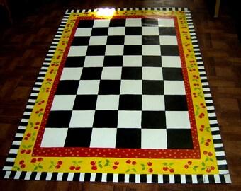 FLOORCLOTH / Hand Painted Rug / Black and White Checks / CHERRIES / 4' x 6'