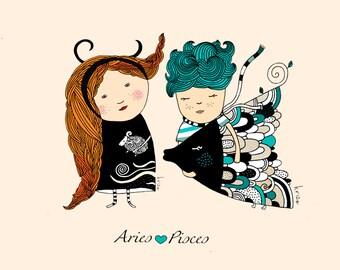 Couple print - Custom print - Zodiac - Illustration - Valentines Day
