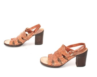 size 6 PLATFORM tan snakeskin 70s CLOGS STRAPPY high heels