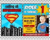 Superman Superhero Birthday Invitation 1st, 2nd, 3rd, 4th, 5th, 6th, 7th, 8th, 9th 10 5x7 - Print Your Own
