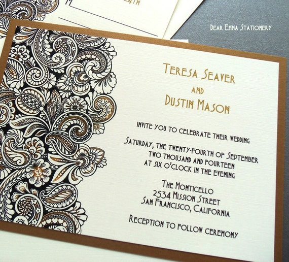 White Black Gold Daisy Wedding Invitation: Unavailable Listing On Etsy