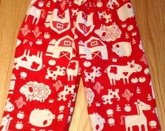 PIG Cow SHEEP FARM flannel lounge pants/pajama pants children's sizes 0-3 to 16.  Contact me for adult sizes to 3x