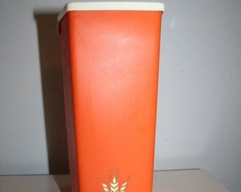Vintage Orange Plastic Flour Canister