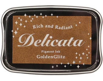 Gold Ink Pad • Tsukineko GOLDEN GLITZ Delicata Pigment Ink Pad • Metallic Delicata Non-Tarnishing Gold Full Size InkPad (DE000191)