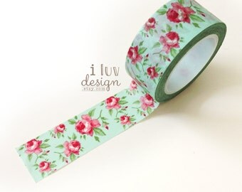 Aqua Antique Floral Washi Tape • Floral Decorative Tape (13699)