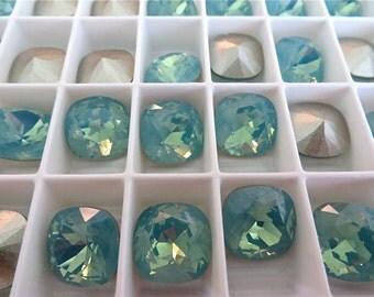 4 Pacific Opal Foiled Swarovski Crystal Square Cushion Cut Stone 4470 12mm