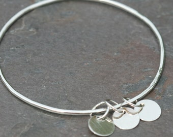 Small Silver Bangle Bracelet , 3 tag bracelet, Initial Tag Bracelet, Personalized Bangle Maggie McMane Designs