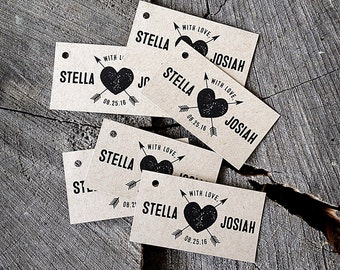 Heart Arrow Rustic Tag - Kraft Brown tags - Ivory Love tags - Thank you Wedding Tags - Favor Treat tags - Set of 50
