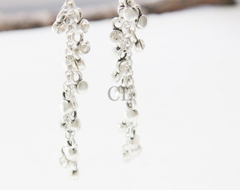 Clear Crystal and Silver Chain Earrings (E25)