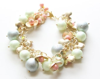 Matte Gold and Glass Pearl Charm Bracelet - coral, grey and mint green glass pearls with a pop of neon green and matte gold flowers (B44A)