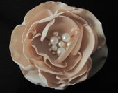 SINGLE BLOOM  fabric flower brooch with freshwater pearl centers - Ready To Ship