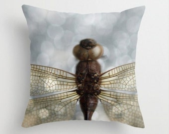 Dragonfly Pillow Cover Affordable Art Nature Decor Woodland Forest Scene Water Insect  Odonata Epiprocta