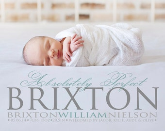 Photo Birth Announcement - Absolutely Perfect - Baby Boy Announcement - Baby Girl Announcement -  Printable, Digital - Baby Announcement
