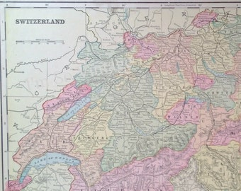 antique double sided map Switzerland Spain and Portugal 1899