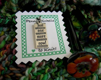 "Sterling Knitting Charm ""Just One More Row"""