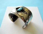 SALE..Navajo Sterling Silver and Turquoise Shadowbox Cuff 1960's