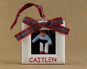 tartan bow personalized picture frame ornament