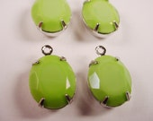 Vintage Lime Green Faceted Oval Glass set  Stone Charms 12x10 1 Ring SILVER