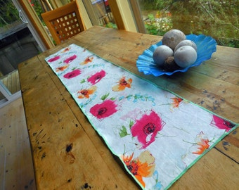 Lovely Lined Linen Table Runner with Watercolored Red Poppies