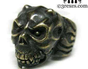 Moving Jaw Mens Skull Ring Crude Devil Ring Gargoyle Brass Biker Band Size 7.5
